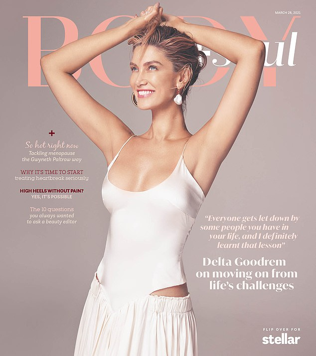Glamorous! The songstress also stunned on the cover of the lift-out in a long white dress which featured cut outs on either side
