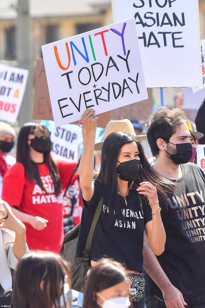 In Koreatown, Los Angeles:Lisa Ling took to the streets along with several community members on Saturday, in a show of support of the Stop Asian Hate cause