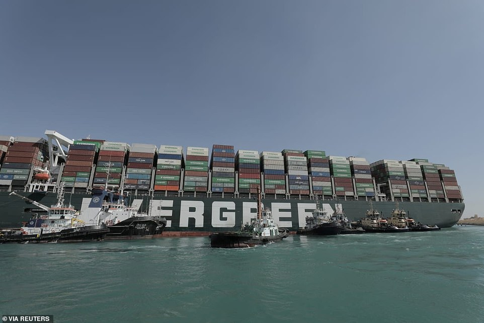 The plan is for the tugboats to nudge the 400-meter-long Ever Given as dredgers continue to vacuum up sand from underneath the vessel and mud caked to its port side, Bernhard Schulte Shipmanagement, which manages the Ever Given, said