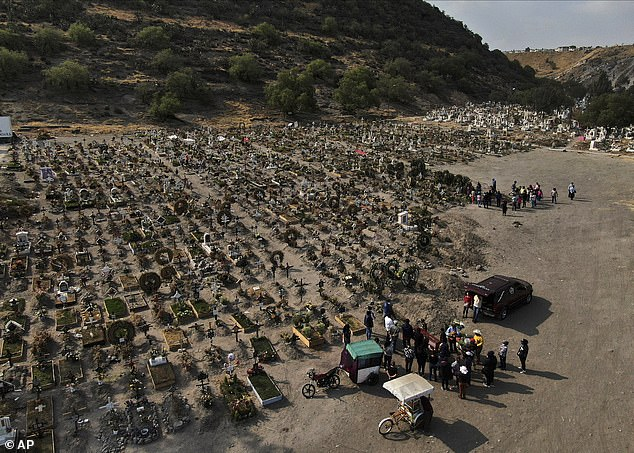 Mexico's government said Saturday that the country's true death toll from the pandemic now stands above 321,000, almost 60% more than the official test-confirmed number of 201,429. Family members attend funeral of a relative who died from COVID on March 17