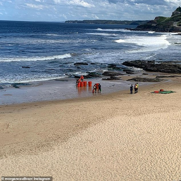 A 200m exclusion zone was set up on Newcastle Beach as the hazmat crews investigated