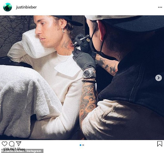 Fresh ink: Bieber also posted a duo of images that were taken during a recent appointment he had with tattoo specialist Dr. Woo