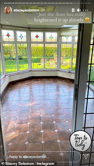 Before:Stacey shared a series of snaps showing before shots of her brown tiled floor
