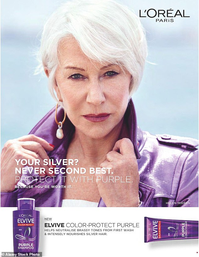 After Joanne, actress Meredith Baxter Birney took over in 1977 and following her was a long line of famous names, including Dame Helen Mirren (pictured) who featured in an advert for the Elvive purple shampoo in the 2010s