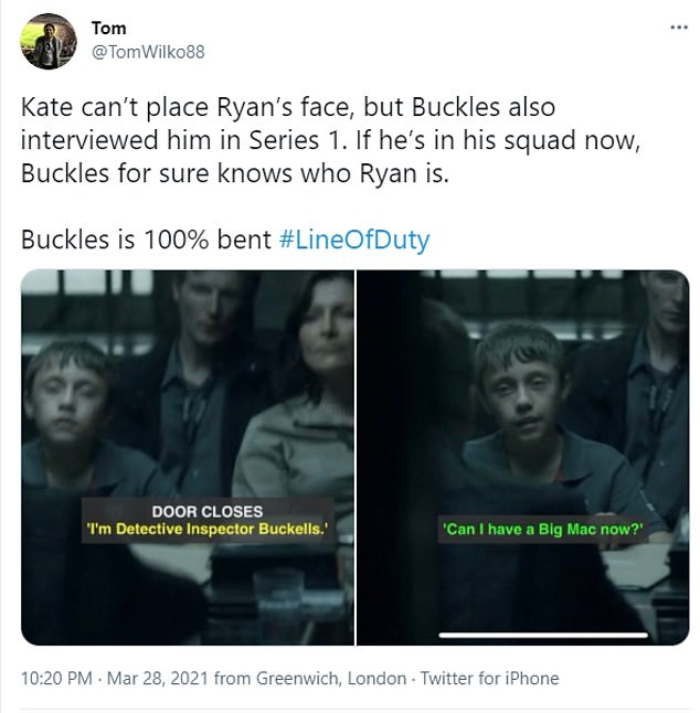 Flashback theories: 'So Superintendent Buckles interviewed Ryan in season 1, so surely he would've noticed him as a Police Officer now? Yet I think Buckles is a massive red herring, it's almost TOO obvious!' someone penned
