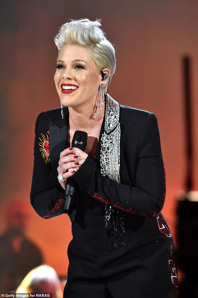 Gushing: Pink recently said of the singer, 'I first encountered Rag'N'Bone Man in Europe in 2017 not long after hearing his song Human. Since then, I knew I wanted to work with him'
