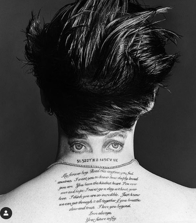 Having already had his fiancée's name inked on the side of his neck, he then had her eyes drawn on the back of it