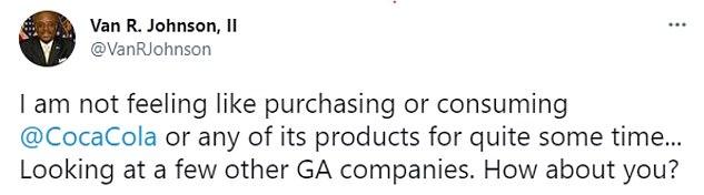 The mayor of Savannah has said he will boycott Atlanta, Georgia-based company Coca-Cola