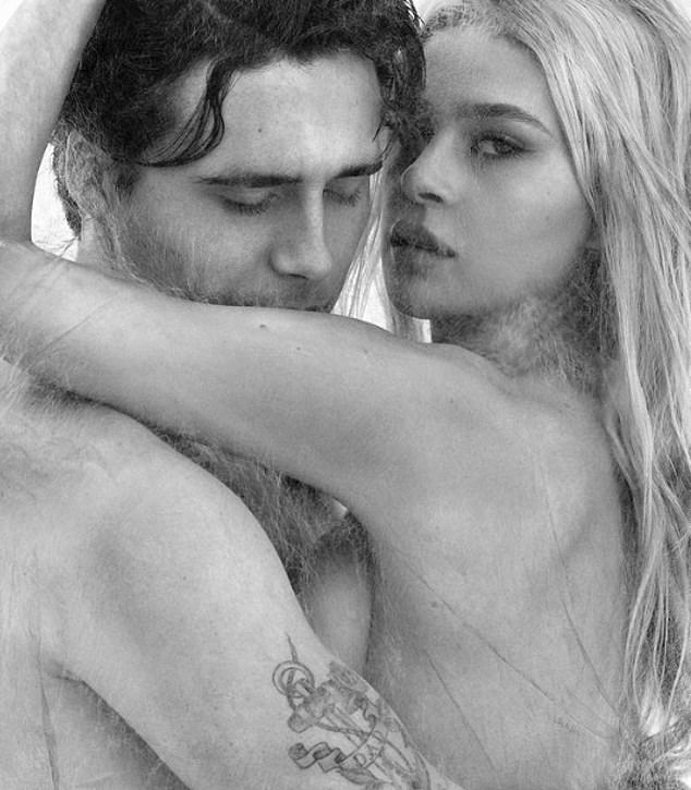 Brooklyn as he hugged his topless girlfriend in an arty black-and-white shot