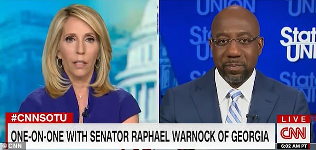 Senator Raphael Warnock (seen right appearing on CNN alongside journalist Dana Bash on Sunday) on Sunday declined to oppose calls by Black Lives Matter activists and supporters to boycott Georgia-based corporations for not taking a position against the state¿s new voting law