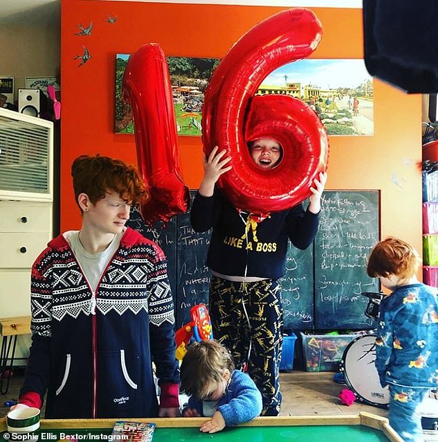 Family:The Masked Singer star's five sons - Sonny, 16, Kit, 11, Ray, eight, Jesse, five, and Mickey, two, make regular appearances in her kitchen discos