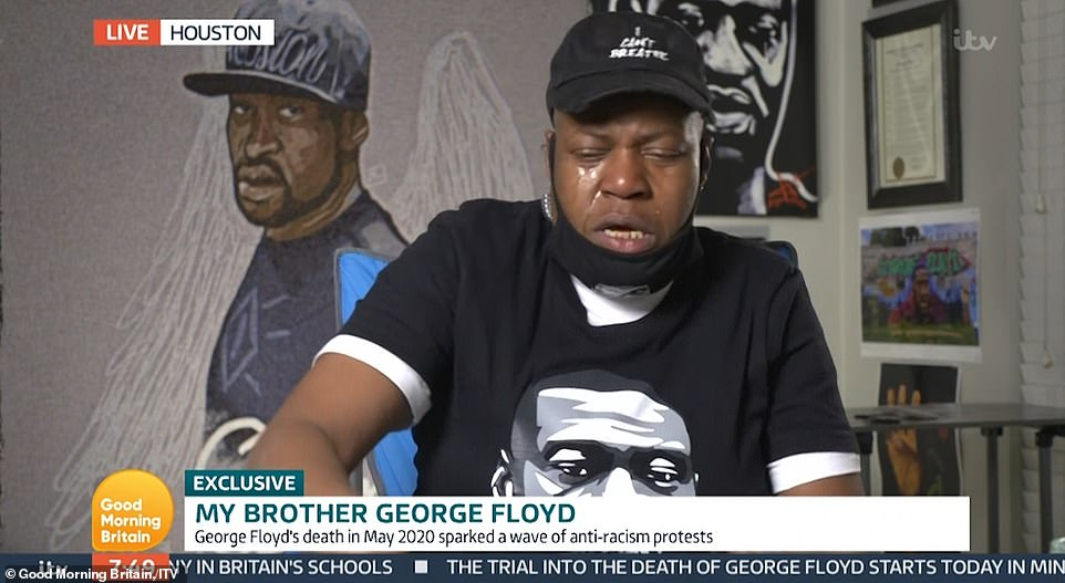 In an emotional interview with Good Morning Britain on Monday, LaTonya Floyd, George's sister, spoke over host Susanna Reid to tell views 'All Lives Matter' as she broke down sobbing