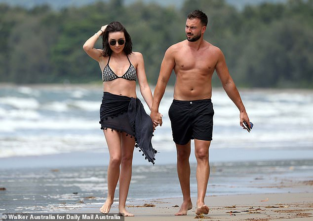 Happy:The heiress and her long-term partner Roger were engaged in June last year, during a lavish party at Bambini Trust in Sydney