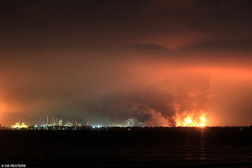 Plumes of thick black smoke have been seen towering into the sky from the refinery, which produces 125,000 barrels a day and is operated by state oil company Pertamina
