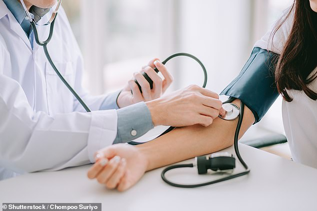 Researchers from University College London studied both systolic and diastolic blood pressure — how much force the blood is under when the heart contracts and relaxes, respectively.Among healthy people only seven per cent had a systolic blood pressure above 140 mm Hg. This figure doubles to 14 per cent among people with gum disease (stock)