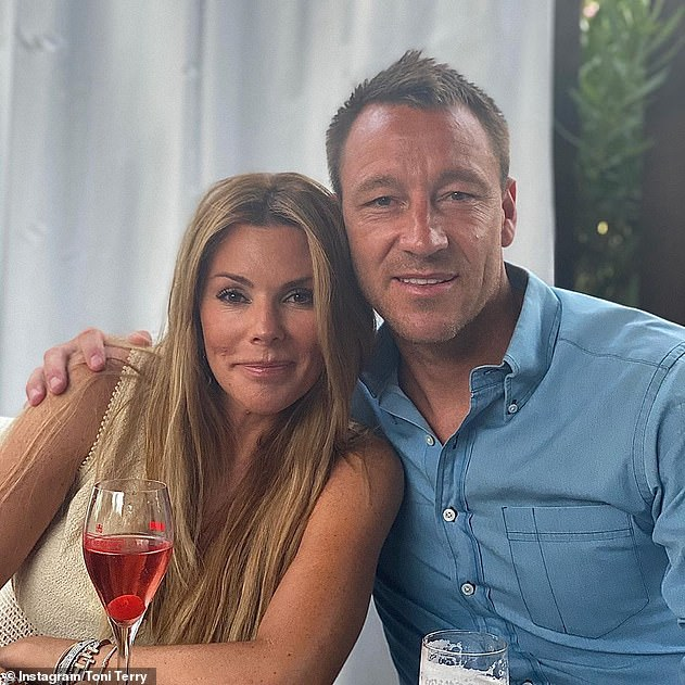 Loved-up: In December, Toni shared a slew of throwback snaps of her 'gorgeous' footballer husband John on Instagram to mark his 40th birthday