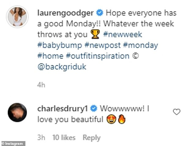 Couple:Father-to-be Charles Drury, 23, was among the first to comment on the photo of his other half, writing: 'Wowwwww! I love you beautiful'