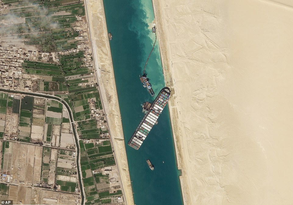 The cargo ship, seen on Sunday before it was freed, had completely blocked traffic on the Suez Canal for a week