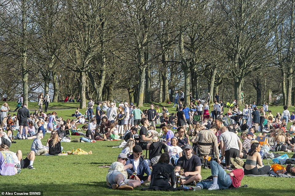 Sunshine in Leeds meant people could enjoy a drink and a picnic, with crowds packed in tightly to avoid the shade earlier on