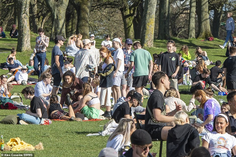 Large crowd of young people have gathered in Hyde Park, Leeds, to bask in today's sunshine as lockdown measures were eased and the Rule of Six returned