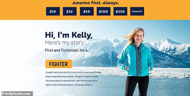 Alaska Department of Administration Commissioner Kelly Tshibaka launched a Senate run Monday, vying for Sen. Lisa Murkowski's seat.Tshibaka's website describes her as a 'fighter' who exposed 'waste, fraud and abuse' working for nearly 17 years in Washington, D.C.