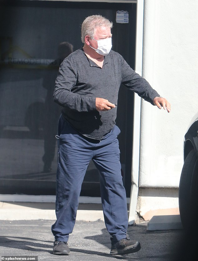 Mandatory: The Star Trek alum made sure to protect himself and others from the coronavirus by wearing a face mask