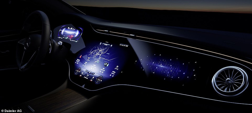 When there is no passenger in the car, the screen furthest away from the driver will instead display digital art