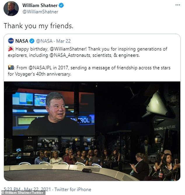 Sci-fi icon: William also got a birthday greeting from the folks at NASA, having famously played Captain James T. Kirk in the NBC series from 1966-69 as well as its film spin-offs