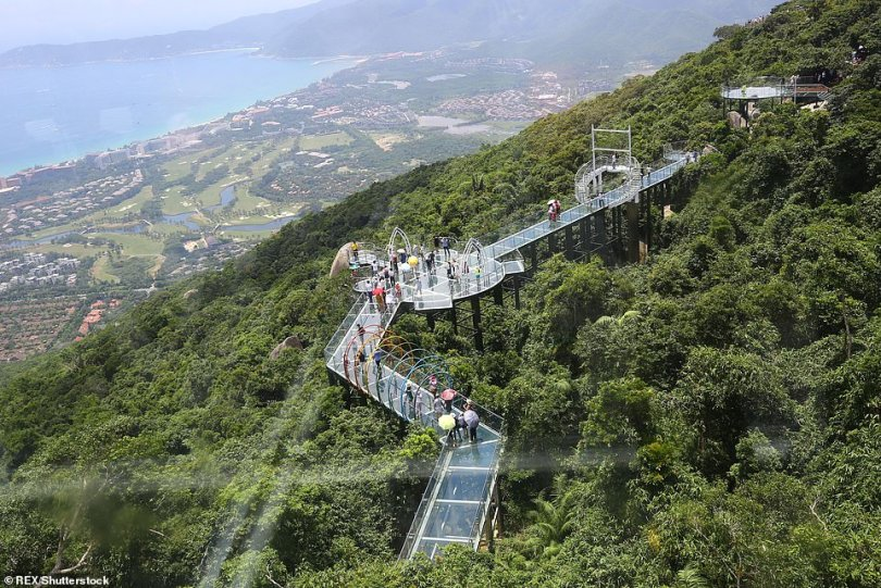 The 400-metre long vertigoinducing glass-bottomed bridge that is suspended over Yalong Bay Tropical Paradise Forest Park in Hainan province