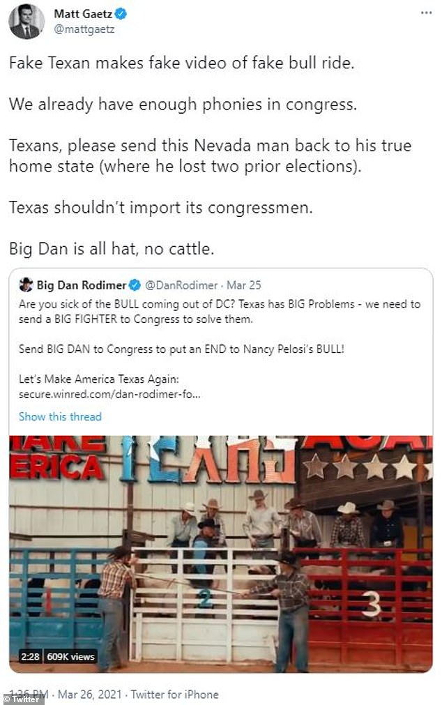 Florida Rep. Matt Gaetz, one of former President Donald Trump's top Congressional allies, tweeted Friday that he believed Rodimer had faked the bullride in his latest campaign ad