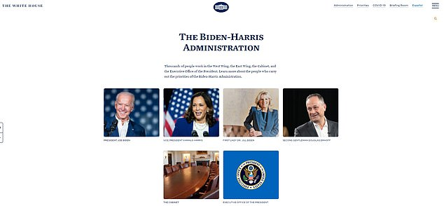 Both officeholders and their spouses are featured on the White House home page