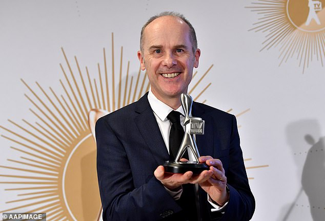 Not happy:TV networks are reportedly 'furious' with the timing of the 2021 Logie Awards after it was announced the ceremony will be held on the first day of the non-ratings period. Pictured: Have You Been Paying Attention? host Tom Gleisner posing with his Silver Logie at the2019 Logie Awards