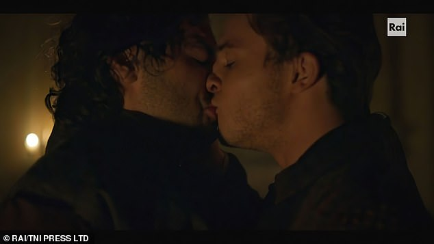 Steamy: The star portrays Leonardo Da Vinci in the new drama - and shares a steamy kiss with another man