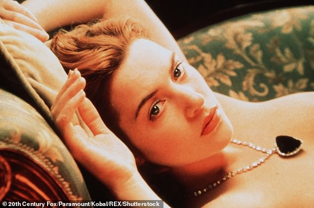 First outing: And the award-winning actress also uttered the iconic line: 'I want you to draw me like one of your French girls,' to Leonardo DiCaprio in 1997's Titanic, before de-robing and posing nude across a sofa