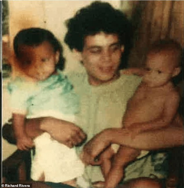 Rivera is pictured as a teen with two of his siblings