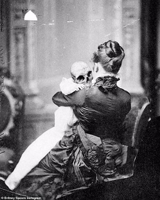 Creepy posts: Britney Spears, 39, continued to baffle fans with another cryptic social media post of a creepy Victorian baby skull and the caption 'wouldn't want this baby to hit me one more time'