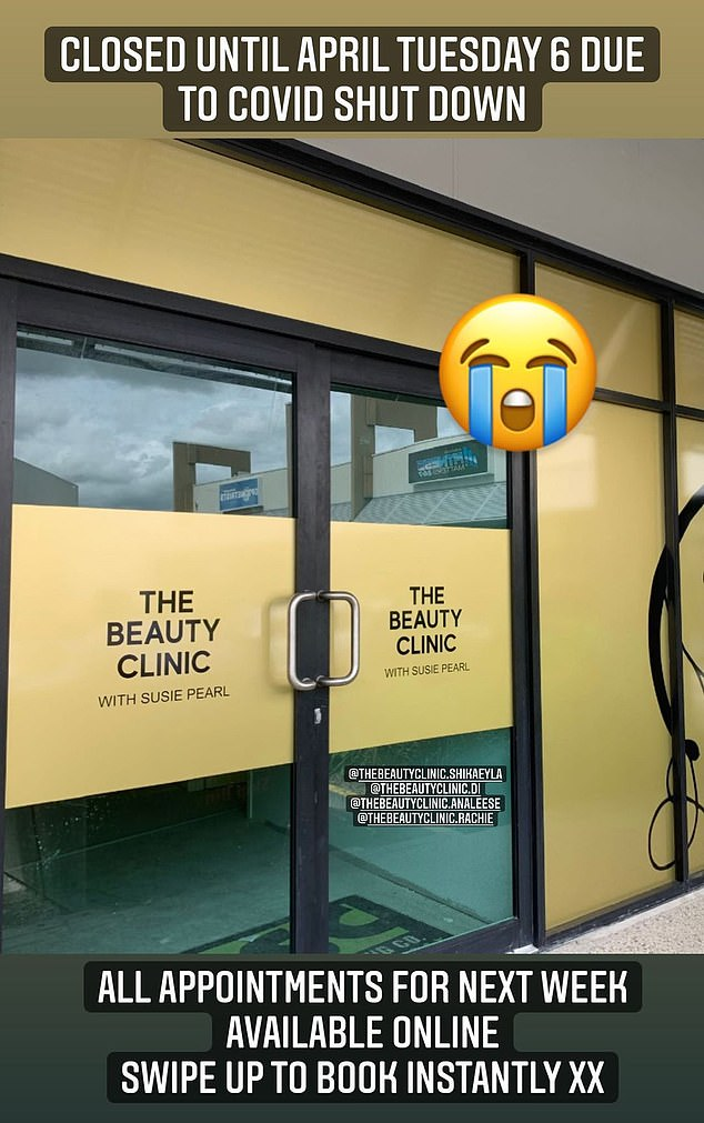 Bad news: Susie Bradley shared unwelcome news on Monday, when the Married at First Sight star told her fans that her beauty clinic had been forced to close its doors