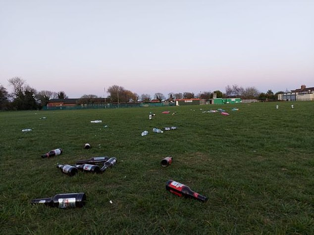 Empty beer bottles and disposable barbecues were just left strewn across a playing field in Bilton, Hull as the sun went down on the first day of the 'rule of six'.