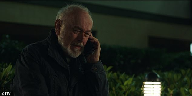 Devastated father Martin Hughes (Peter Egan) wept freely as he listened to his daughter's last voicemail on repeat outside the hospital, pictured
