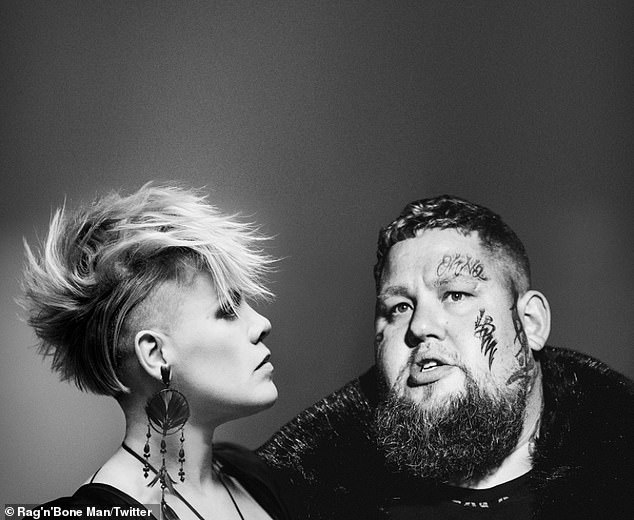 Exciting: Rag 'N' Bone Man revealed a new black-and-white snap with Pink as he promoted their new collaborative track from his upcoming album via Twitter on Monday