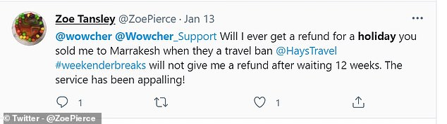Another customer has been waiting for a refund for a cancelled holiday for over 12 weeks