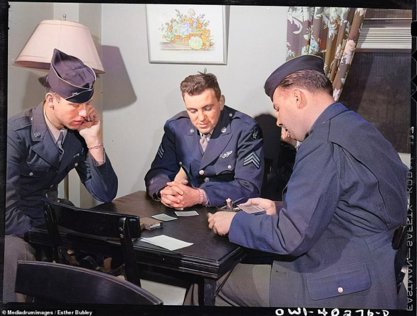 Card games have been used by people to pass the time for hundreds of years. These soldiers waiting between trains at the United Nations service centre in Washington DC in 1943 are seen waiting for a fellow soldier to deal out their hands before a game