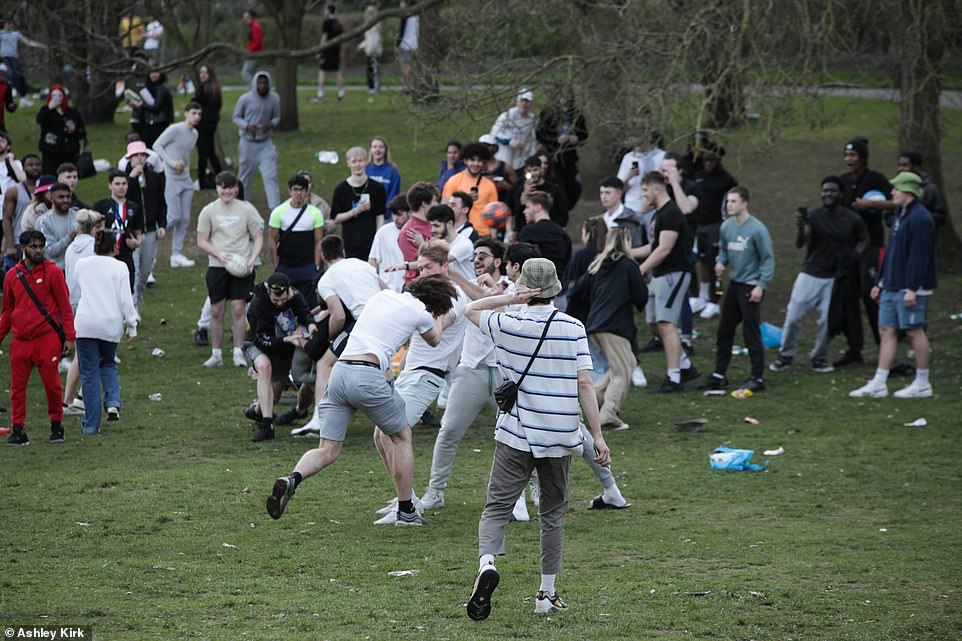 Chaos yesterday as crowds gather at the Arboretum park in Nottingham city centre yesterday