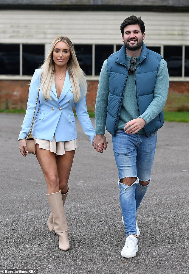 Loved-up: Amber Turner and Dan Edgar's relationship appeared to be going from strength-to-strength as they arrived for filming for TOWIE on Sunday hand-in-hand