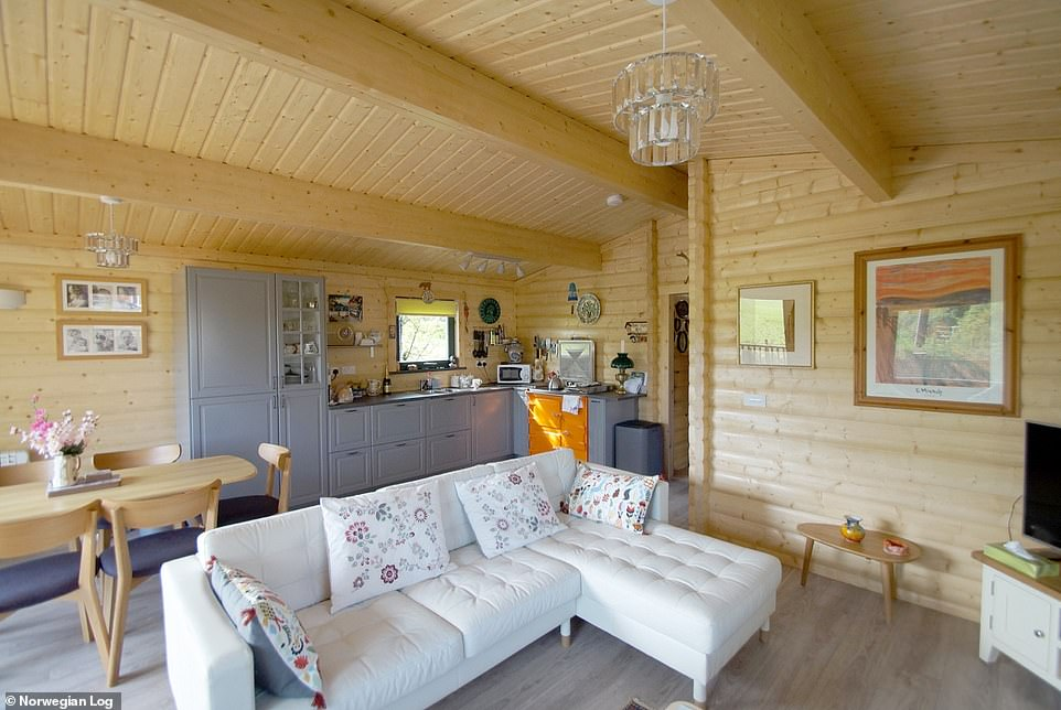 Independent living:Designed to be installed at the bottom of the garden, a 'care pod' is a self-contained cabin that gives the resident their independence and loved ones some peace of mind. Pictured, the Malvern model, which starts from £52,000