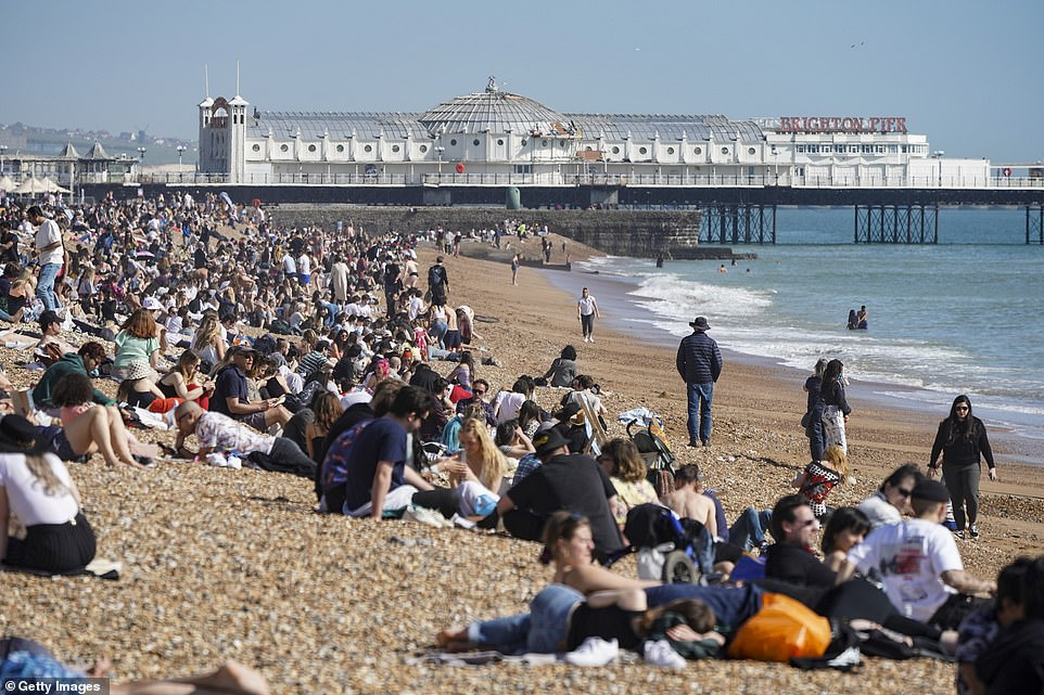 Crowds head for Brighton beach today as a spell of hot weather coincides with lockdown restrictions being eased