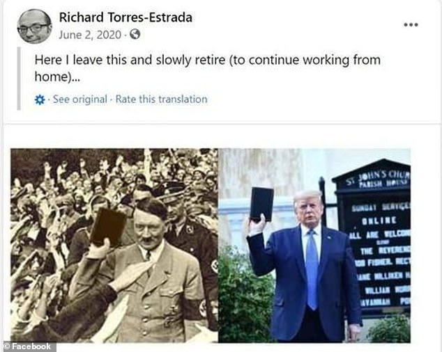 The Pentagon'spick for chief of diversity and inclusion, Richard Torres-Estrada, is being probed for problematic social media posts like this one where he compared Adolf Hitler to former President Donald Trump