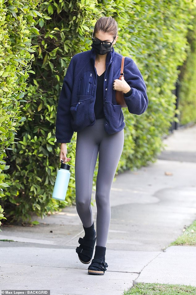 Day out: Last week, it was revealed she landed an acting role on American Horror Story. And on Tuesday, Kaia Gerber was spotted enjoying some me time as she headed to Pilates class in West Hollywood