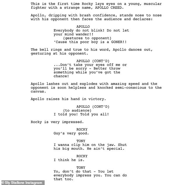 Emergence: Another sequence of the script shows the introduction of Apollo Creed