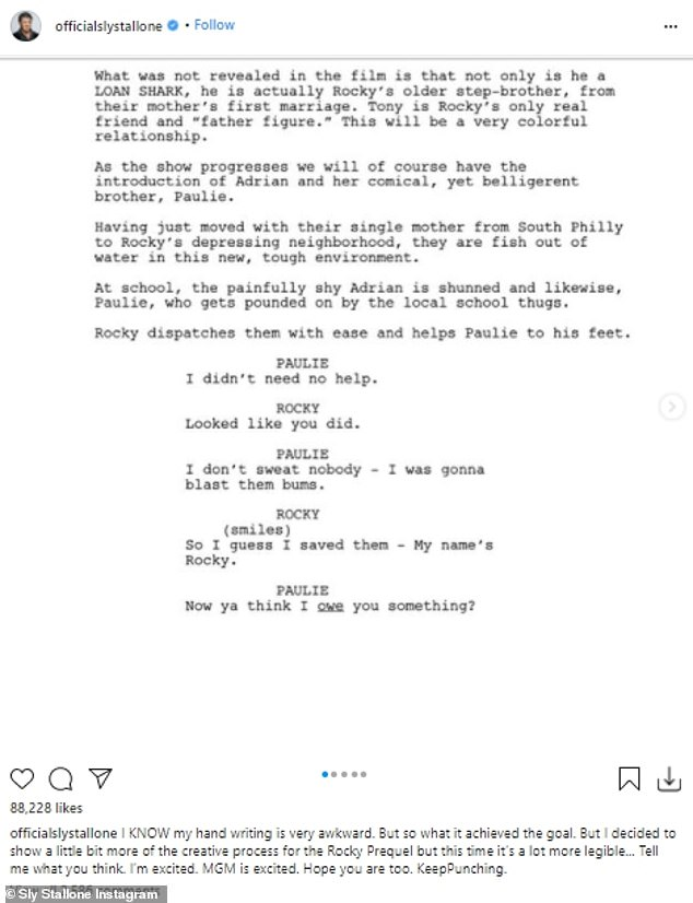 Stallone shared a shot of a script that detailed how his Rocky character encounters nascent wife Adrian and her brother Paulie, played by Talia Shire and Burt Young in the motion picture series
